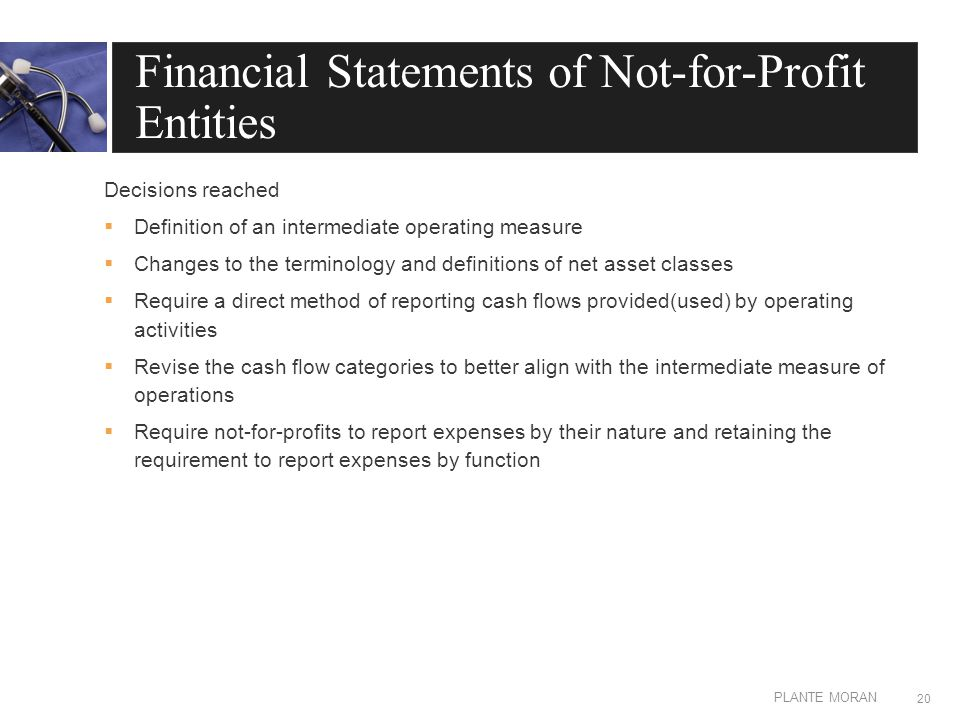 EDIT IN MASTER: CLIENT OR PRESENTATION NAME PLANTE MORAN Financial Statements of Not-for-Profit Entities Decisions reached  Definition of an intermediate operating measure  Changes to the terminology and definitions of net asset classes  Require a direct method of reporting cash flows provided(used) by operating activities  Revise the cash flow categories to better align with the intermediate measure of operations  Require not-for-profits to report expenses by their nature and retaining the requirement to report expenses by function 20