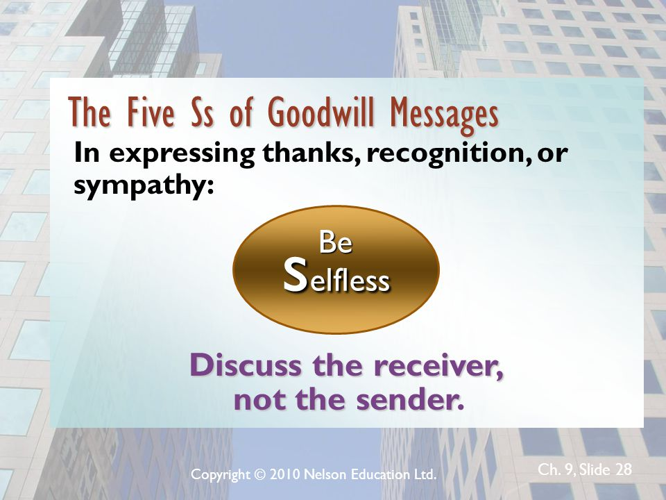 Ch. 9, Slide 28 The Five Ss of Goodwill Messages In expressing thanks, recognition, or sympathy: Be s elfless Discuss the receiver, not the sender not