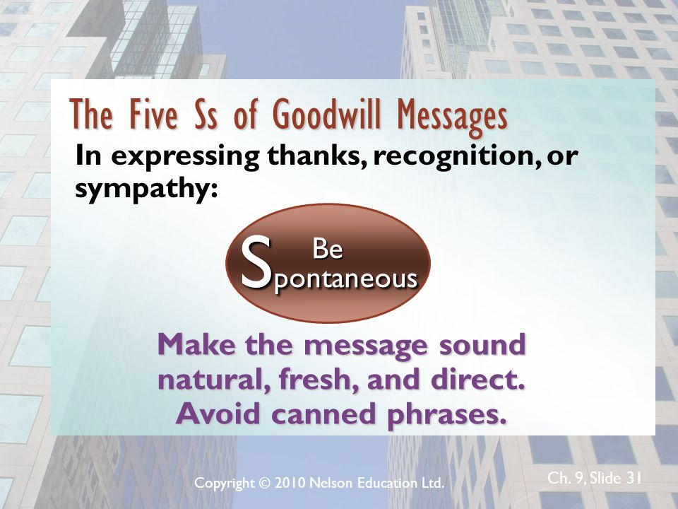 Ch. 9, Slide 31 Make the message sound natural, fresh, and direct. Avoid canned phrases. Be S pontaneous The Five Ss of Goodwill Messages In expressin