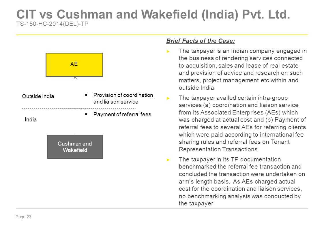 Page 23 CIT vs Cushman and Wakefield (India) Pvt. Ltd. TS-150-HC-2014(DEL)-TP Brief Facts of the Case: ► The taxpayer is an Indian company engaged in