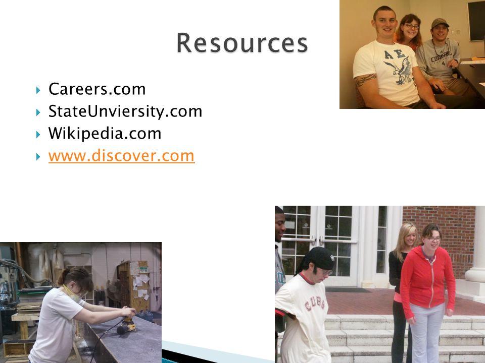  Careers.com  StateUnviersity.com  Wikipedia.com  www.discover.com www.discover.com
