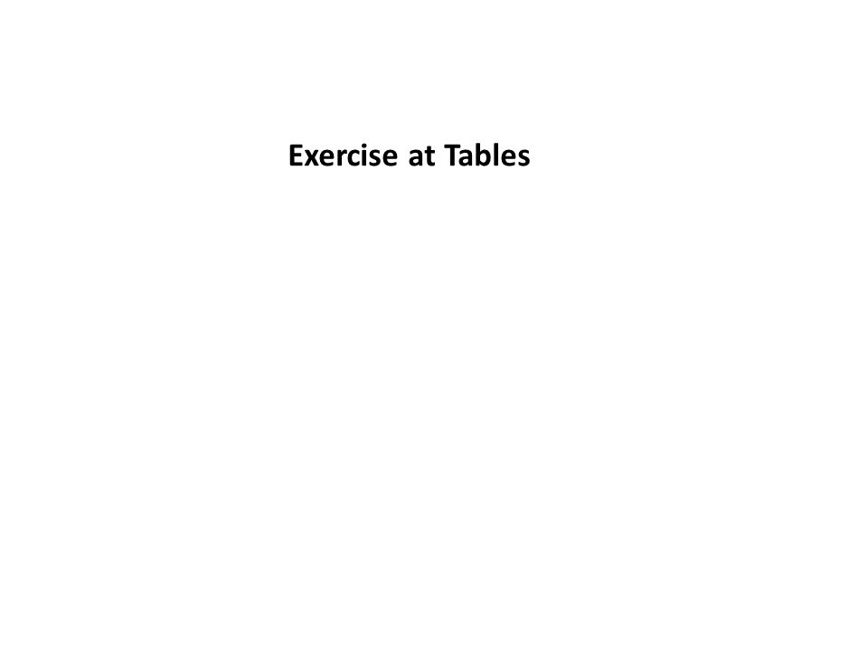 Exercise at Tables
