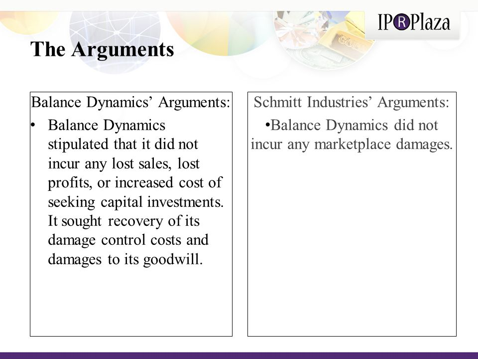 The Arguments Balance Dynamics' Arguments: Balance Dynamics stipulated that it did not incur any lost sales, lost profits, or increased cost of seeking capital investments.