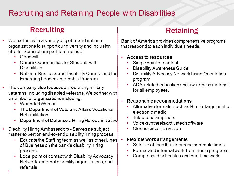 Recruiting and Retaining People with Disabilities We partner with a variety of global and national organizations to support our diversity and inclusion efforts.