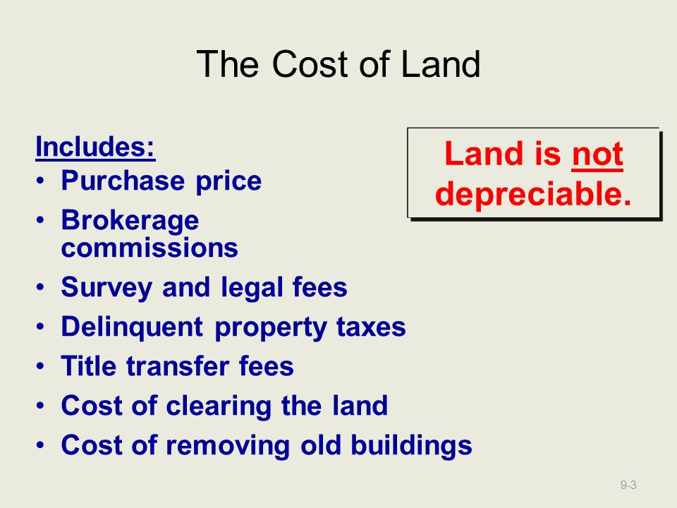 The Cost of Land These costs are referred to as Land Improvements.