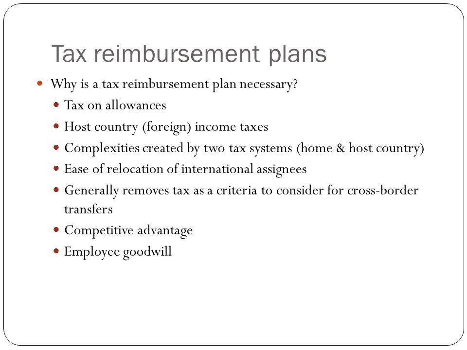 Tax Reimbursement Plans – Administrative Matters