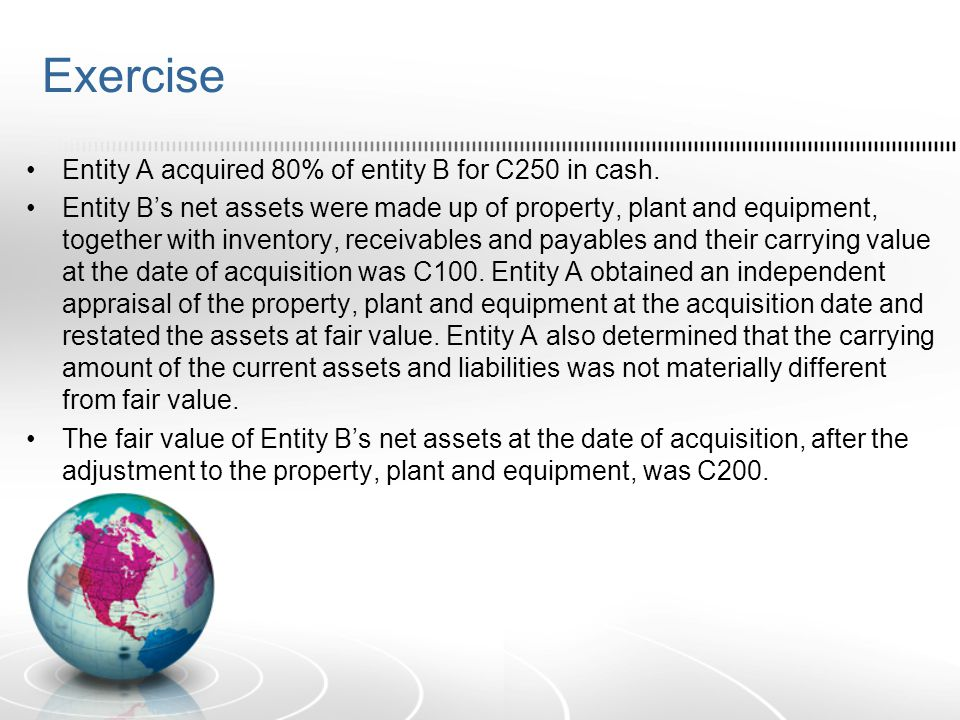 Exercise Entity A acquired 80% of entity B for C250 in cash. Entity B's net assets were made up of property, plant and equipment, together with invent