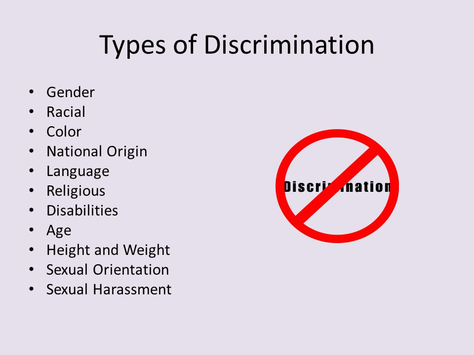 Types of Discrimination Gender Racial Color National Origin Language Religious Disabilities Age Height and Weight Sexual Orientation Sexual Harassment