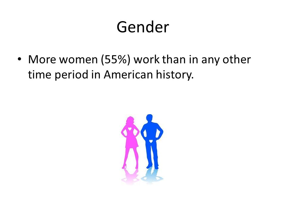 Gender More women (55%) work than in any other time period in American history.
