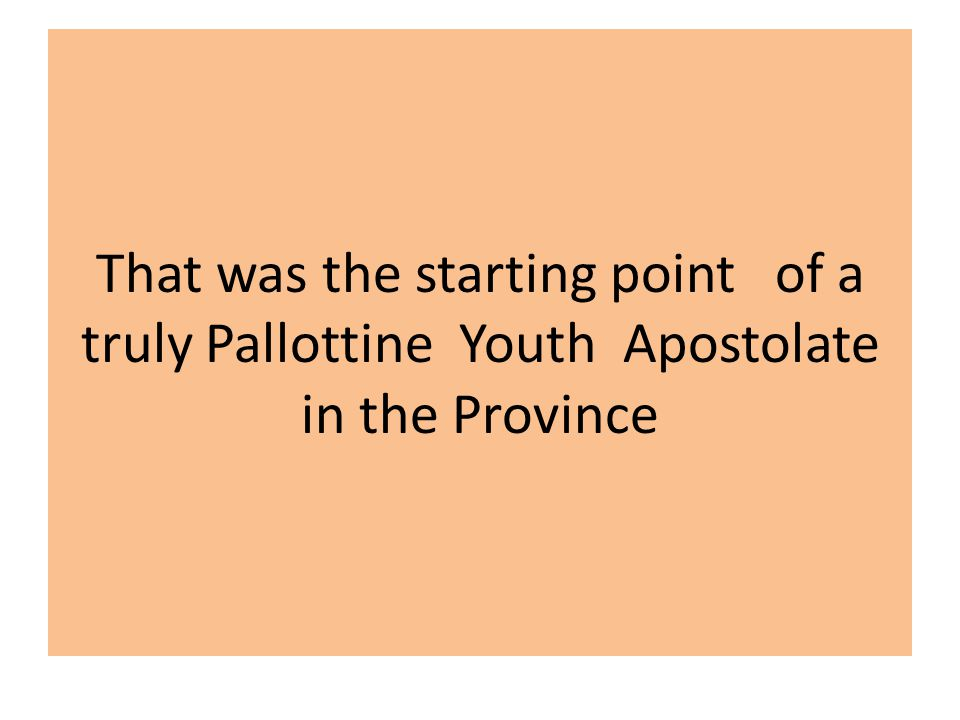 That was the starting point of a truly Pallottine Youth Apostolate in the Province