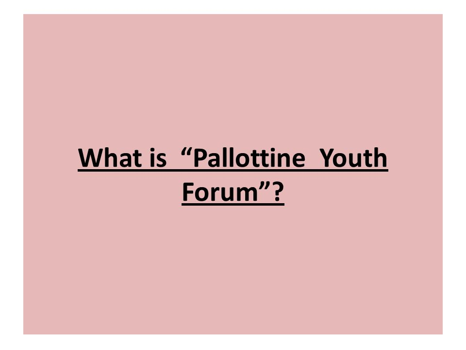 """What is """"Pallottine Youth Forum""""?"""