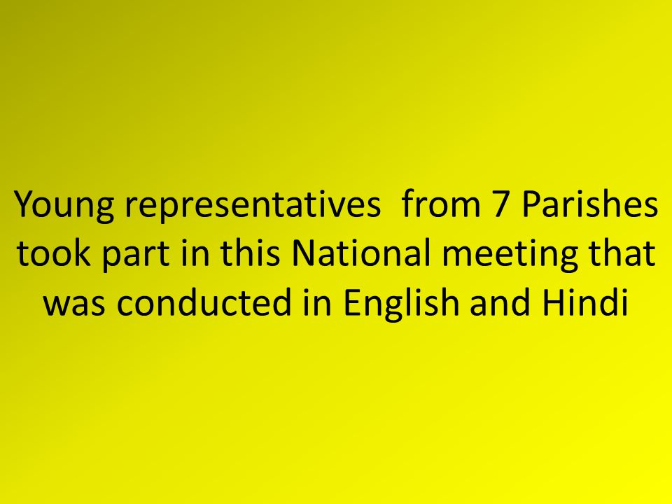 Young representatives from 7 Parishes took part in this National meeting that was conducted in English and Hindi