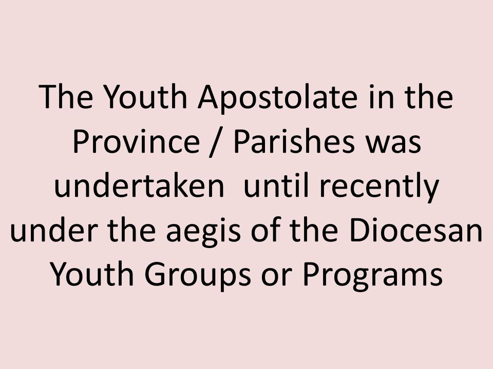 The Youth Apostolate in the Province / Parishes was undertaken until recently under the aegis of the Diocesan Youth Groups or Programs
