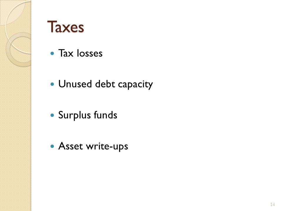 Taxes Tax losses Unused debt capacity Surplus funds Asset write-ups 14