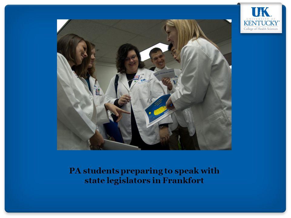 PA students preparing to speak with state legislators in Frankfort