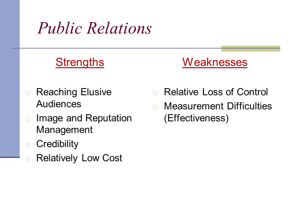 Public Relations Strengths o Reaching Elusive Audiences o Image and Reputation Management o Credibility o Relatively Low Cost Weaknesses o Relative Loss of Control o Measurement Difficulties (Effectiveness)
