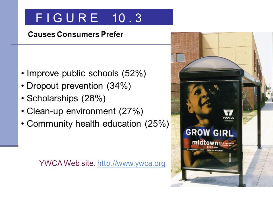 YWCA Web site: http://www.ywca.orghttp://www.ywca.org Improve public schools (52%) Dropout prevention (34%) Scholarships (28%) Clean-up environment (27%) Community health education (25%) F I G U R E 10.