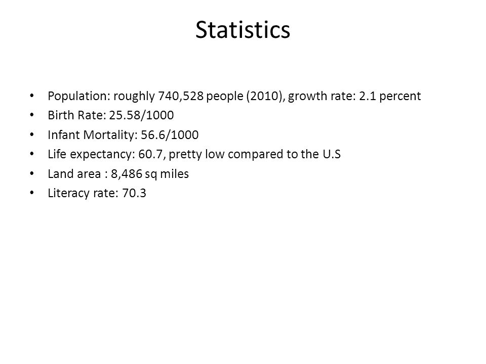 Statistics Population: roughly 740,528 people (2010), growth rate: 2.1 percent Birth Rate: 25.58/1000 Infant Mortality: 56.6/1000 Life expectancy: 60.7, pretty low compared to the U.S Land area : 8,486 sq miles Literacy rate: 70.3