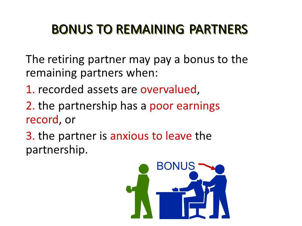 BONUS TO REMAINING PARTNERS The retiring partner may pay a bonus to the remaining partners when: 1. recorded assets are overvalued, 2. the partnership