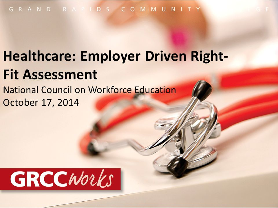 Healthcare: Employer Driven Right- Fit Assessment National Council on Workforce Education October 17, 2014