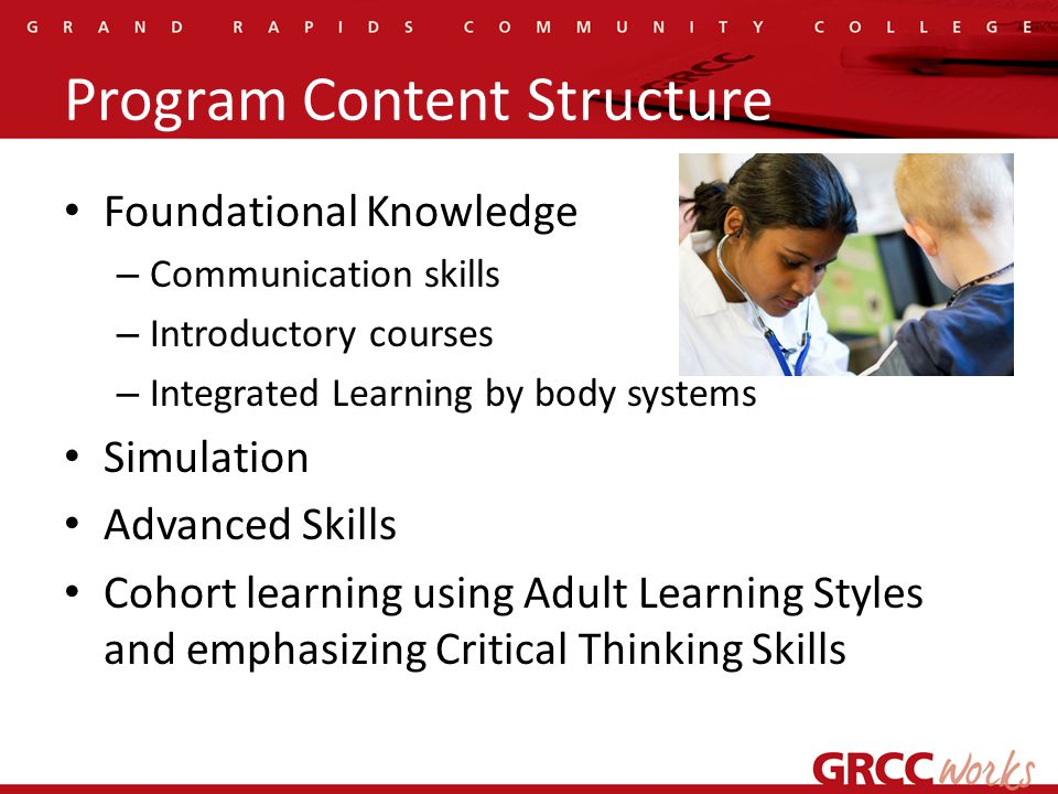 Program Content Structure Foundational Knowledge – Communication skills – Introductory courses – Integrated Learning by body systems Simulation Advanced Skills Cohort learning using Adult Learning Styles and emphasizing Critical Thinking Skills