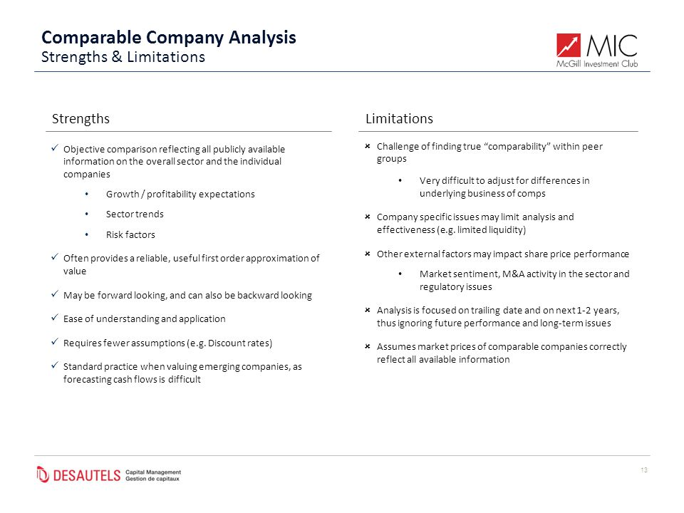 Comparable Company Analysis 13 StrengthsLimitations Objective comparison reflecting all publicly available information on the overall sector and the individual companies Growth / profitability expectations Sector trends Risk factors Often provides a reliable, useful first order approximation of value May be forward looking, and can also be backward looking Ease of understanding and application Requires fewer assumptions (e.g.