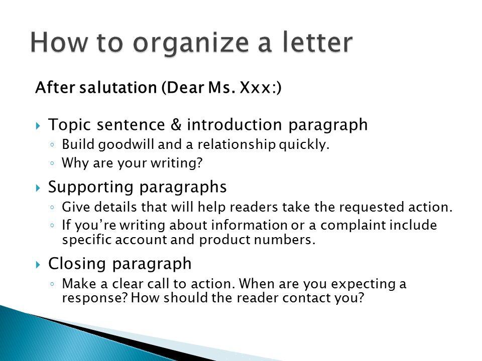 After salutation (Dear Ms.