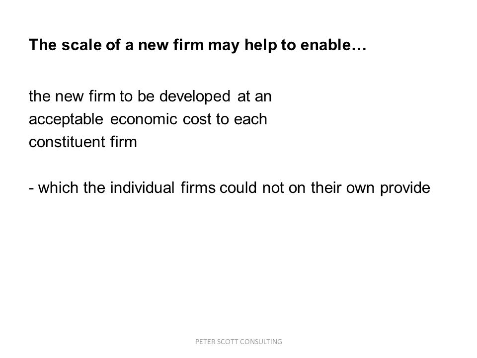 PETER SCOTT CONSULTING The scale of a new firm may help to enable… the new firm to be developed at an acceptable economic cost to each constituent firm - which the individual firms could not on their own provide