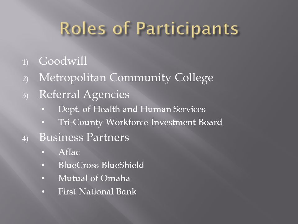 1) Goodwill 2) Metropolitan Community College 3) Referral Agencies Dept. of Health and Human Services Tri-County Workforce Investment Board 4) Busines