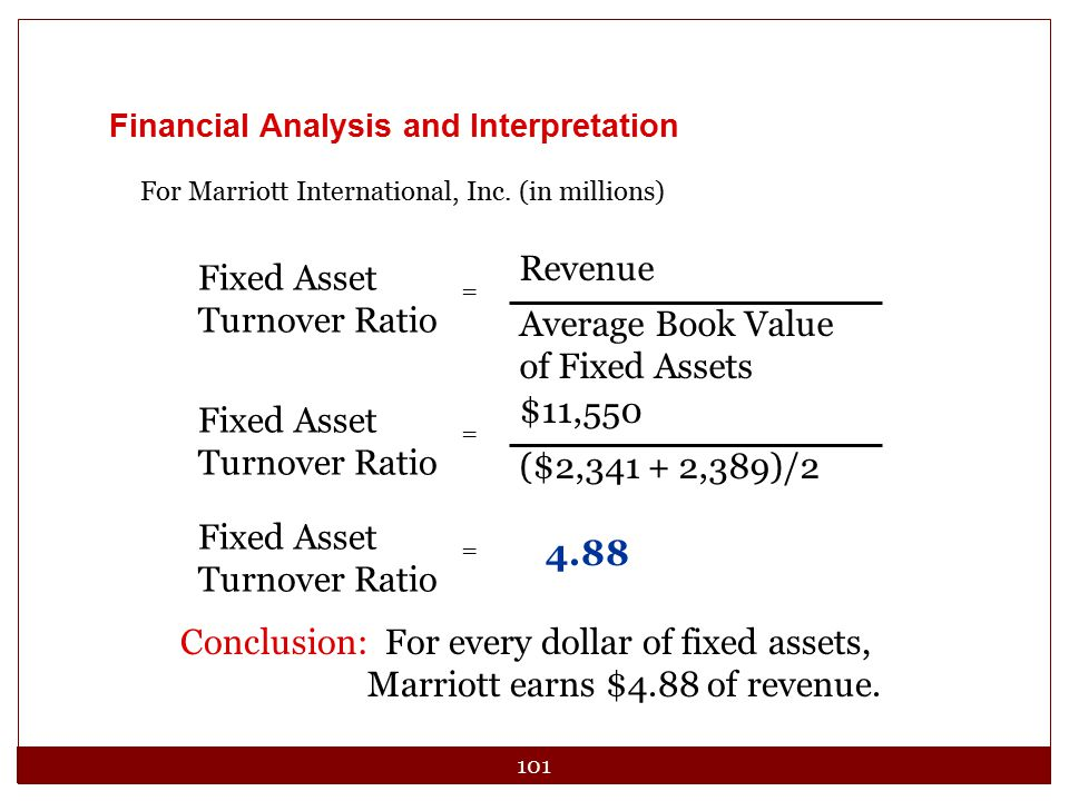 101 Financial Analysis and Interpretation For Marriott International, Inc. (in millions) Fixed Asset Turnover Ratio Revenue Average Book Value of Fixe