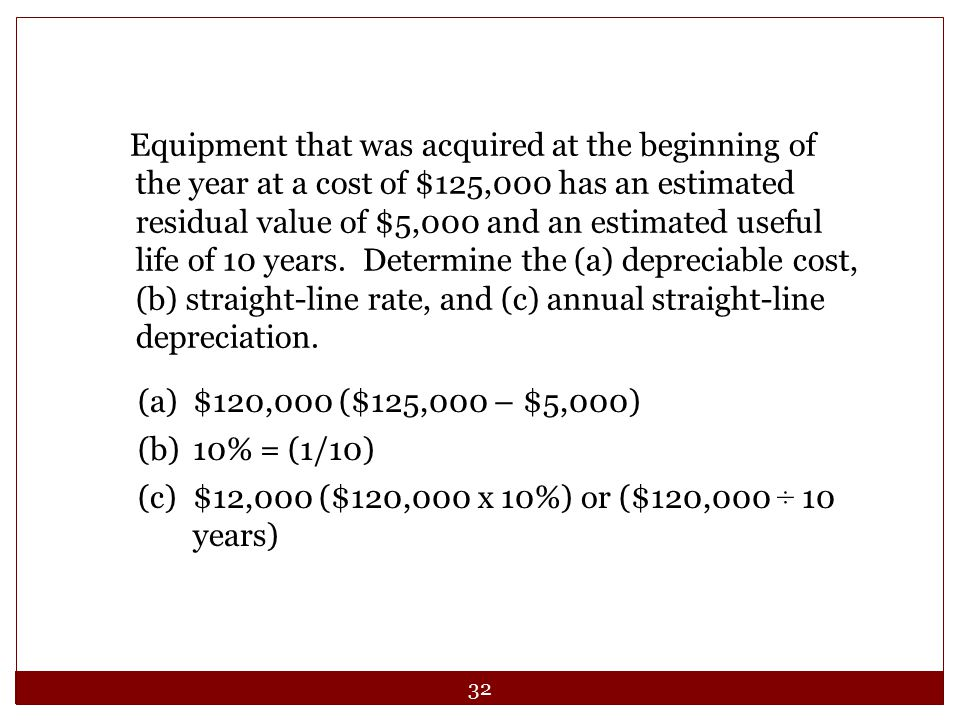 32 Equipment that was acquired at the beginning of the year at a cost of $125,000 has an estimated residual value of $5,000 and an estimated useful li