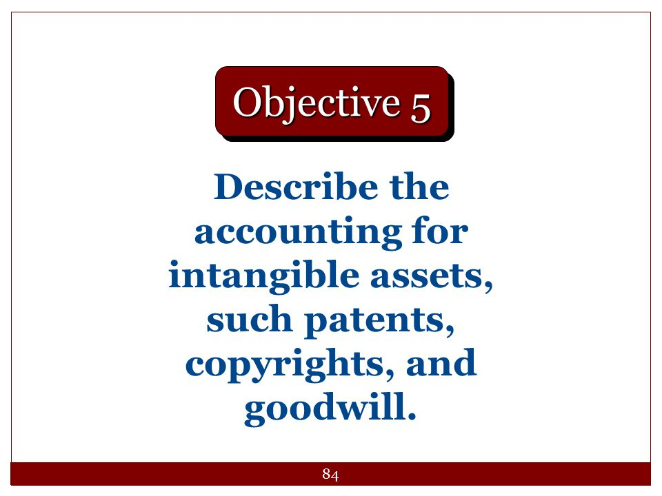 84 Describe the accounting for intangible assets, such patents, copyrights, and goodwill. Objective 5