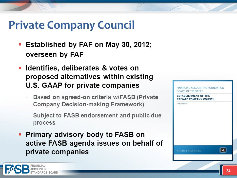 Private Company Council  Established by FAF on May 30, 2012; overseen by FAF  Identifies, deliberates & votes on proposed alternatives within existi