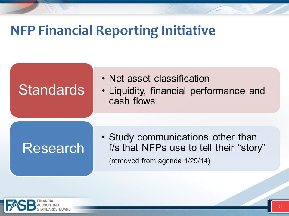 "Net asset classification Liquidity, financial performance and cash flows Standards Study communications other than f/s that NFPs use to tell their ""st"