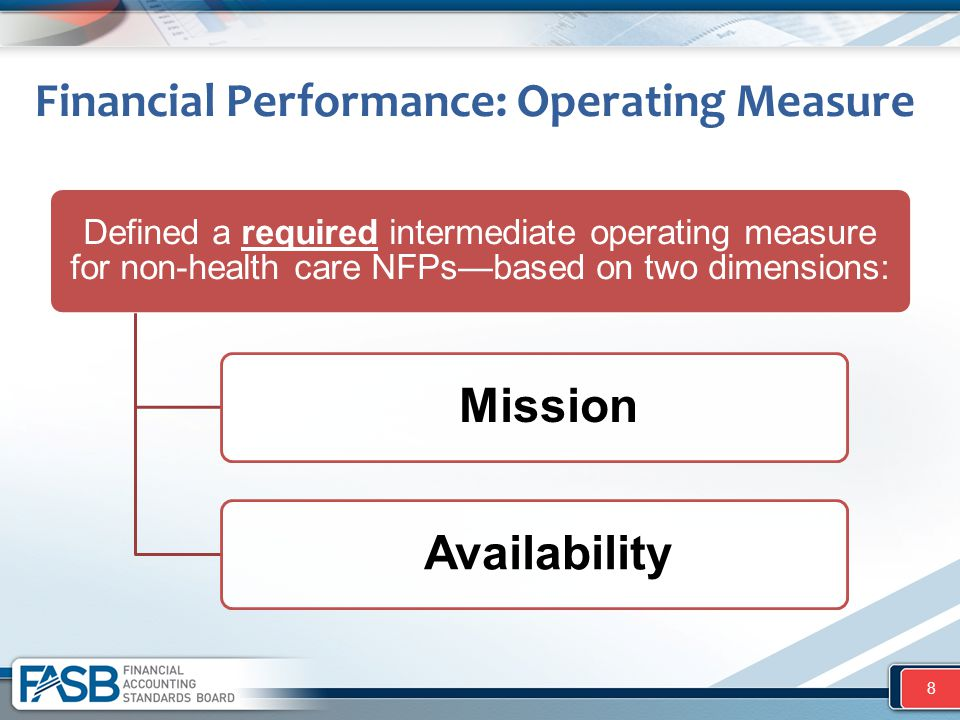 Financial Performance: Operating Measure 8 Defined a required intermediate operating measure for non-health care NFPs—based on two dimensions: Mission