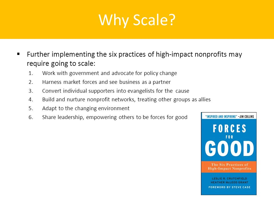 Why Scale?  Further implementing the six practices of high-impact nonprofits may require going to scale: 1.Work with government and advocate for poli