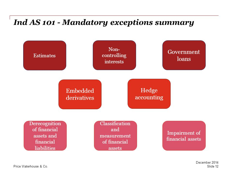 PwC Ind AS 101 - Mandatory exceptions summary Non- controlling interests Government loans Derecognition of financial assets and financial liabilities