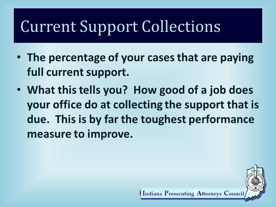Current Support Collections The percentage of your cases that are paying full current support.
