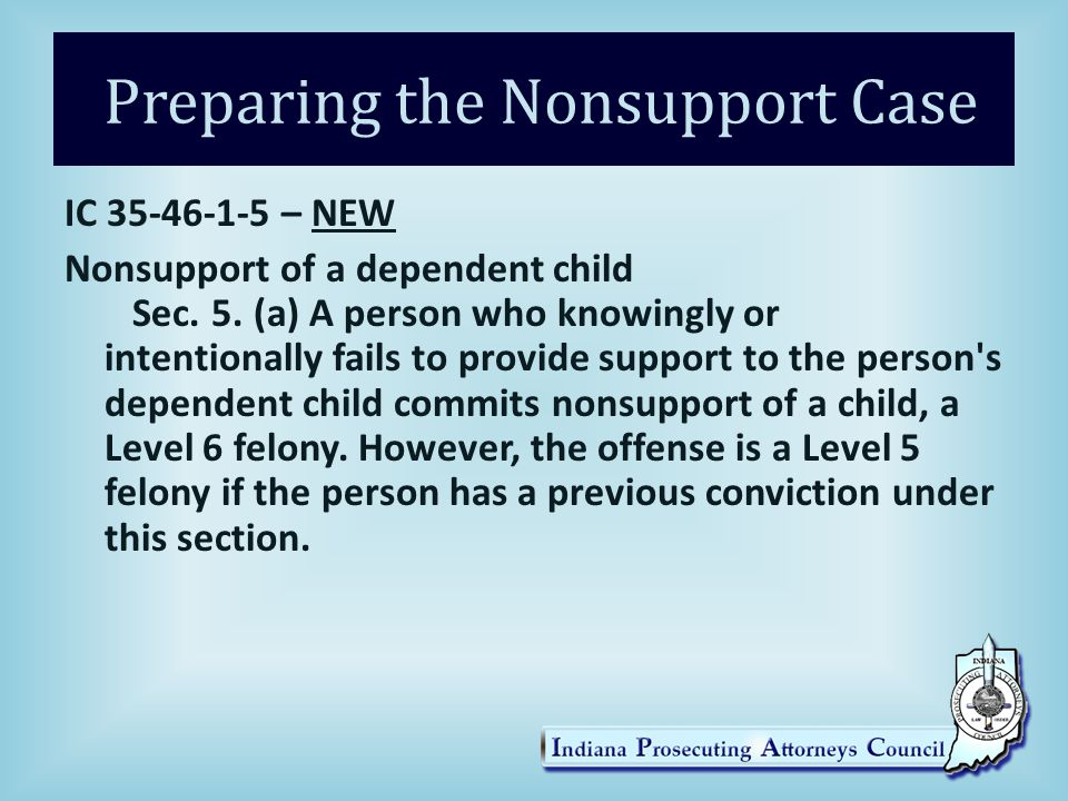 Preparing the Nonsupport Case IC 35-46-1-5 – NEW Nonsupport of a dependent child Sec.