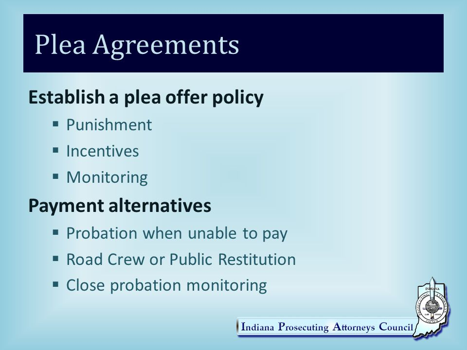 Plea Agreements Establish a plea offer policy  Punishment  Incentives  Monitoring Payment alternatives  Probation when unable to pay  Road Crew or Public Restitution  Close probation monitoring
