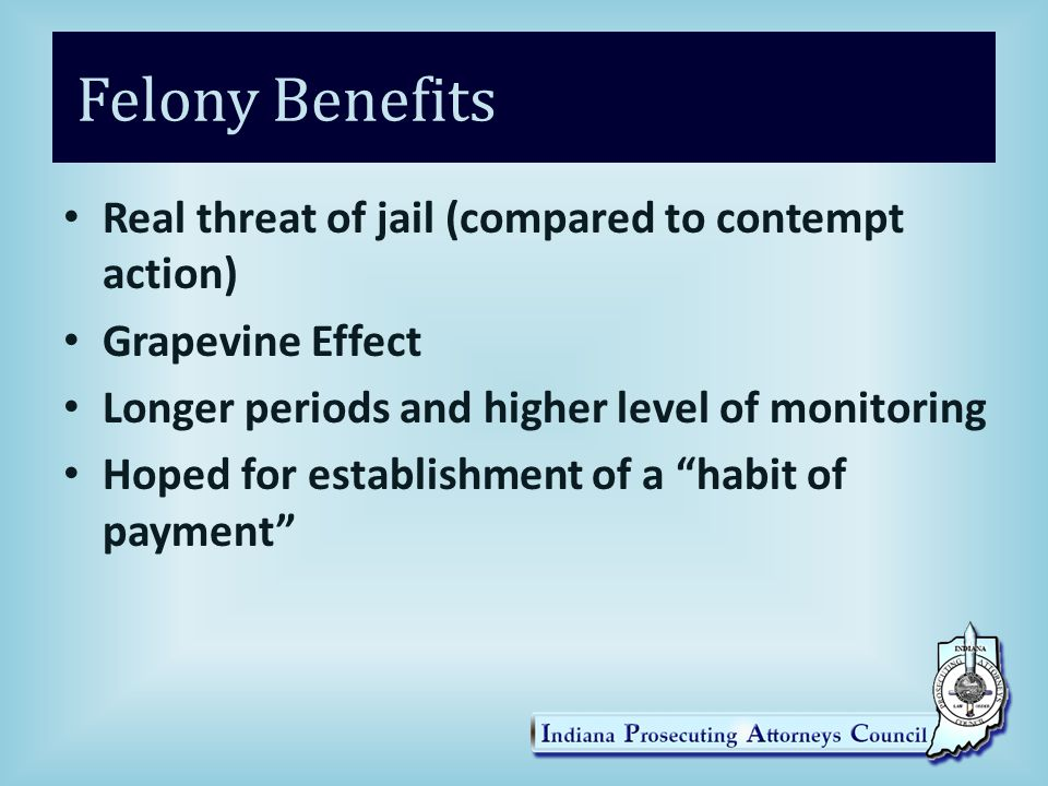 Felony Benefits Real threat of jail (compared to contempt action) Grapevine Effect Longer periods and higher level of monitoring Hoped for establishment of a habit of payment