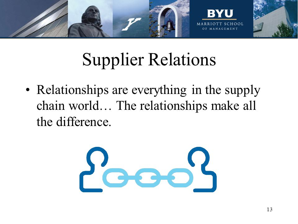 Supplier Relations Relationships are everything in the supply chain world… The relationships make all the difference.