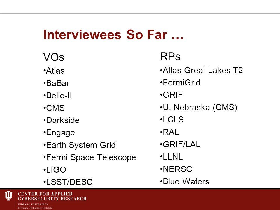 Interviewees So Far … VOs Atlas BaBar Belle-II CMS Darkside Engage Earth System Grid Fermi Space Telescope LIGO LSST/DESC RPs Atlas Great Lakes T2 FermiGrid GRIF U.