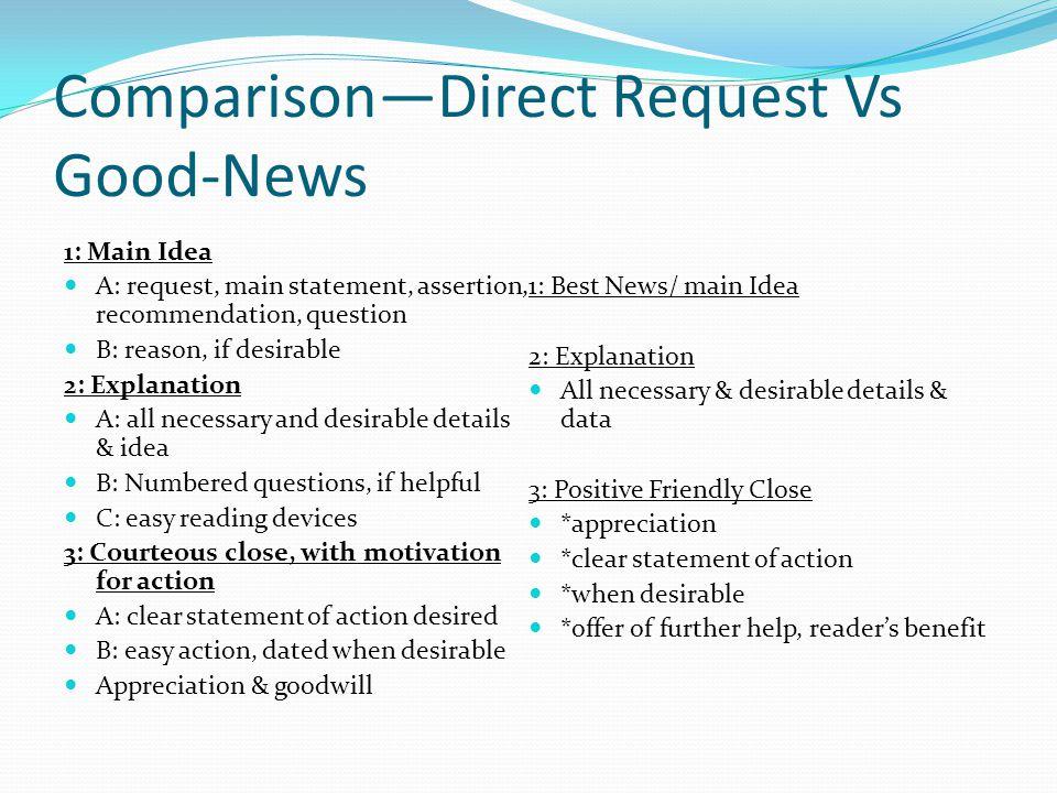 Comparison—Direct Request Vs Good-News 1: Main Idea A: request, main statement, assertion, recommendation, question B: reason, if desirable 2: Explana