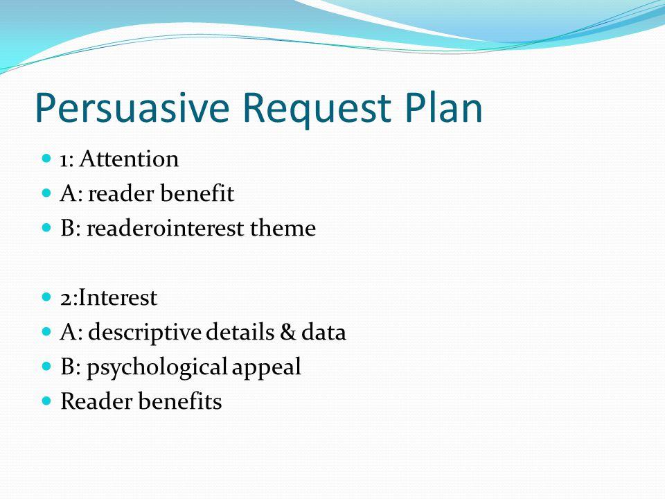 Persuasive Request Plan 1: Attention A: reader benefit B: reader0interest theme 2:Interest A: descriptive details & data B: psychological appeal Reade