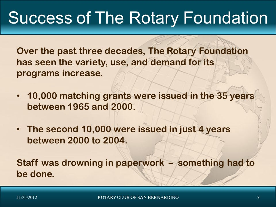 Success of The Rotary Foundation Over the past three decades, The Rotary Foundation has seen the variety, use, and demand for its programs increase. 1