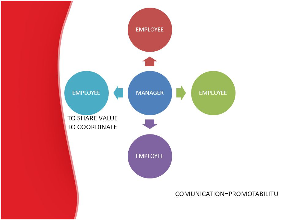 TO SHARE VALUE TO COORDINATE COMUNICATION=PROMOTABILITU MANAGEREMPLOYEE