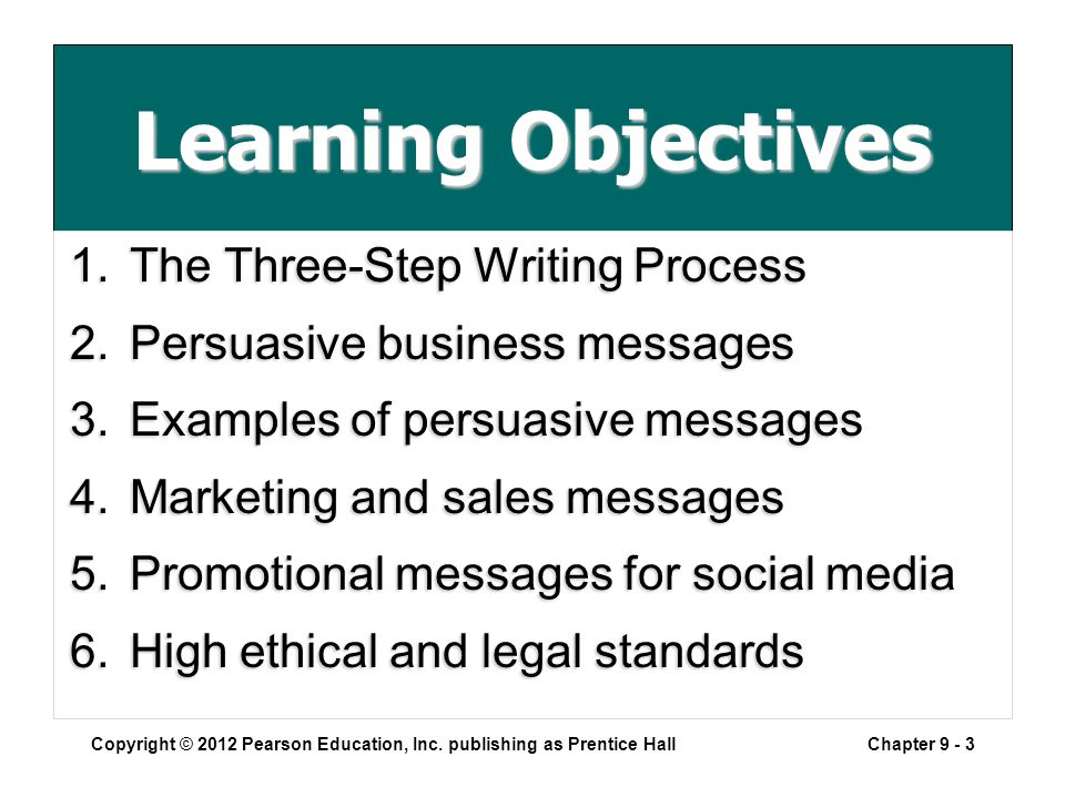 Learning Objectives 1.The Three-Step Writing Process 2.Persuasive business messages 3.Examples of persuasive messages 4.Marketing and sales messages 5