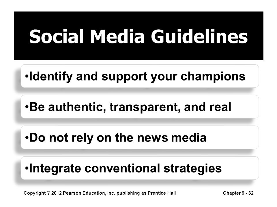 Social Media Guidelines Copyright © 2012 Pearson Education, Inc.