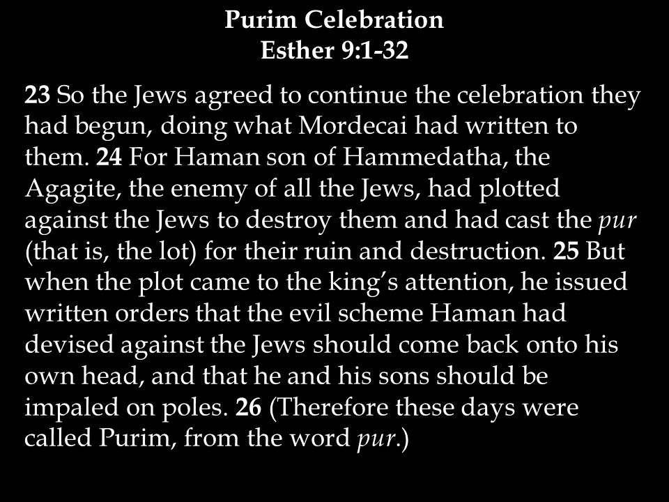 23 So the Jews agreed to continue the celebration they had begun, doing what Mordecai had written to them.